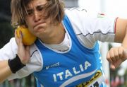 1311 Monia Cantarella of Italy in action in the Girls' Shot Put in Lille Final Position 6 Mark 14,01